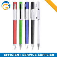 Round Shape Office Ball Pen Printing Shining Silver Color Ballpoint Pen