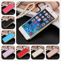 7 Colors Gold Edge Electro-plating PC Lamb Skin Leather Back Cover for iphone 6