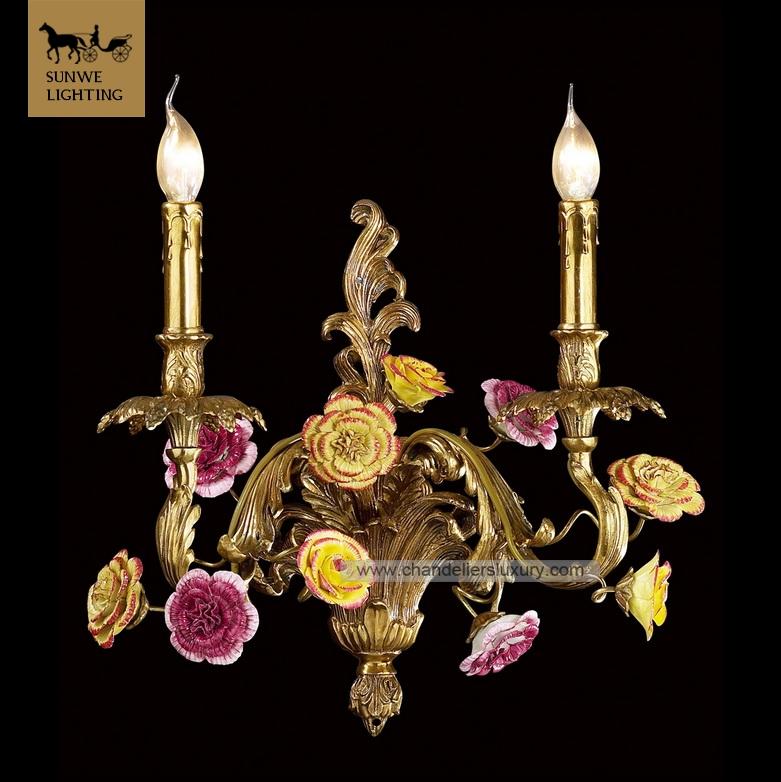 lichten messing bloem wandkandelaar verlichting decoratieve, Meubels Ideeën