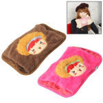 Cute Girl Pattern USB Electrothermal Water Bag Hot Pack Cushion Throw Pillow Hand Warmer (Random Color Delivery