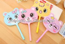 hot selling cute design plastic ball pen with hand fan for promotion
