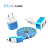 Universal Connect Solution Kit, Micro USB Cable 3 USB Ports Car Charger Wall Charger