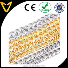 2016 men gold stainless steel link chain necklace mini cuban chunky chain necklace custom fashion gold men necklace