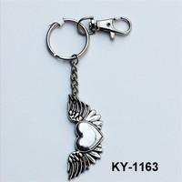 Hot sale competitive price creative keychain heart shape angel wings metal keychain