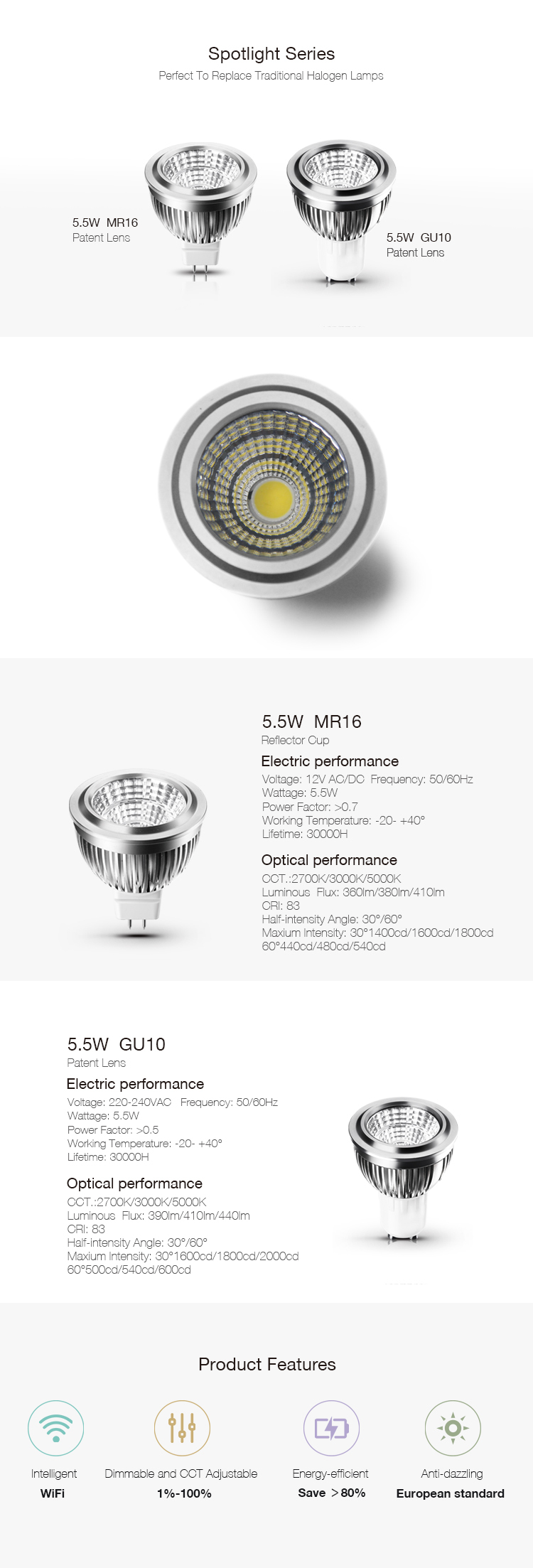 Type B LED Spot light 5.5W MR 16 Reflector Cup
