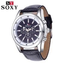 2015 Original Brand Luxury Men Fashion Casual Leather Watchband Quartz Wrist watch Retro Round Dial Male Clock Relogio Masculin