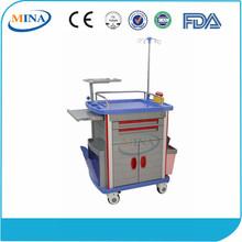 MINA-ET850C Luxurious ABS hospital emergency trolley equipment