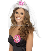 White Bride to Be Tiara with Veil Hen Night Party Accessories