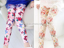 Flower printing girls long leggings Toddler skinny pants baby girls leggings kids capri pants