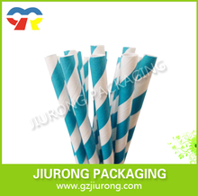 disposable paper straw white and blue striped Food grade Suitable for party