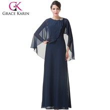 2015 Newest Fashion Design Grace Karin Ladies Navy Blue Chiffon Evening Dresses With Long Sleeves CL6210