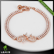 Chinese Supplier 3A CZ Micro Setting 925 Silver Light Infinity Charm Bracelet