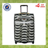 Fahionable Tiger Stripes PU Spinner Wheel Iron Trolley System Trolley Travel Bags