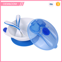High quality non-toxic plastic cute shape portable baby feeding bowl with lid