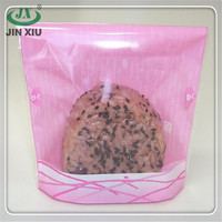 Wholesale pink stand up antifog onigiri flat plastic bag