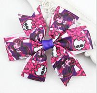 2015 Fashion Monster High Purple Hairclip Bows Flower Hair clip Hairpins Headwear Kids/Girls/Baby Hair accessories