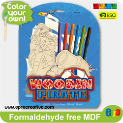 EPRO CA9315B 2015 new design handmade wooden toys for kids, pirate design color your own wooden stand