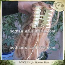 Fashion new style virgin human hair clip in hair ponytail