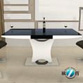 Retrátil mesa de jantar seater 10& preto branco com aço inoxidável mesa de jantar pernas