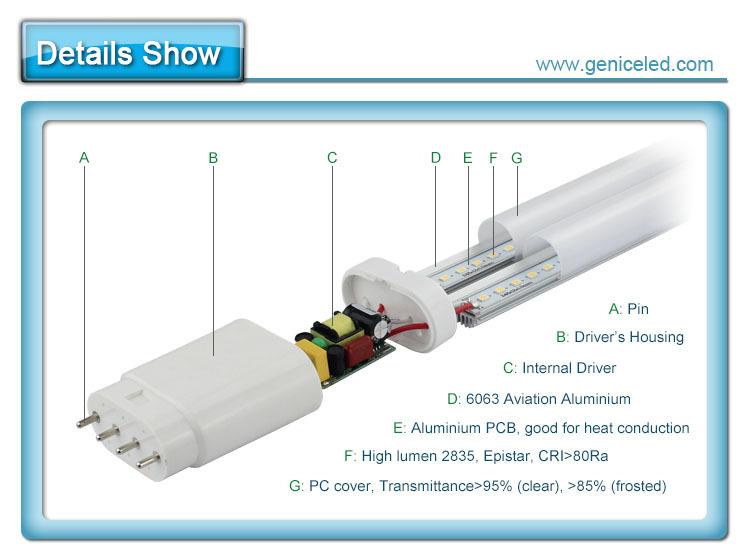 26w 4-pin Pl Led Lamp 2g11 Led Tube,Price Led Tube Light ...