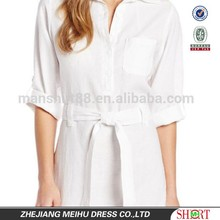 new design for lady pure white design sexy lady summer linen blouse