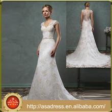 AMS45 Exquisite Plus Size A Line Cap Sleeve Appliqued Bridal Wedding Gown Lace Sheer Back Wedding Gown Sweetheart