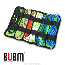 New Arrived BUBM OEM/ODM REEL PACKAGE/PORTABLE CARRYING Storage Bag Elastic Cable pouch/USB Cable/WIRE Organizer bag