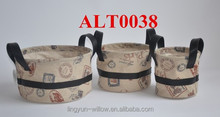 handmade linen fabric bag with leather handles for storage