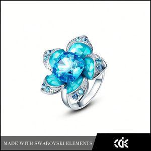 cde bijoux en porcelaine gros cristal fleur de lotus bleu anneau