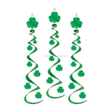 St Patricks Day Shamrock Foil Swirl Hanging decoration Home party ceiling decoration