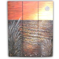 wholesale fancy home furniture golden oil painting style wood room divider