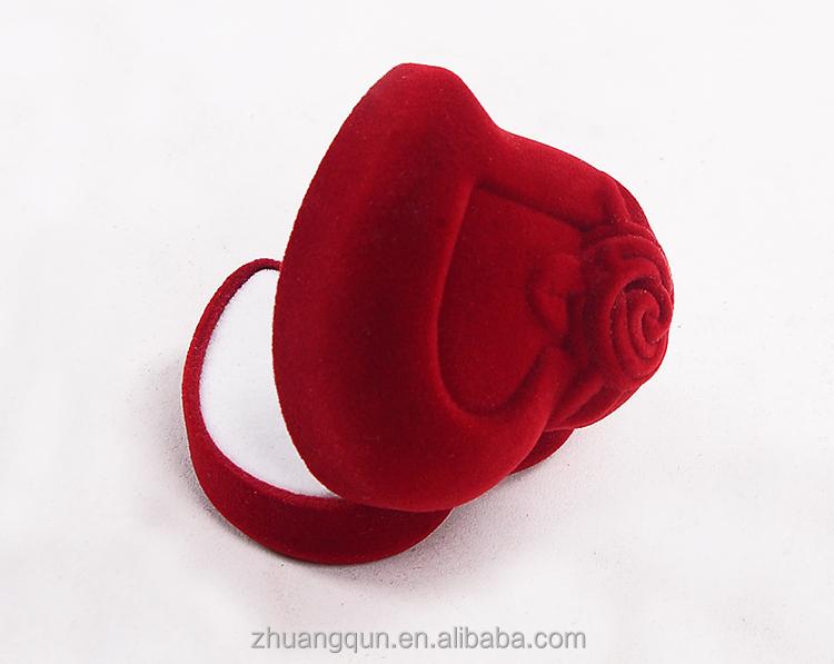보석 반지 장미 선물 패키지 상자 벨벳 링 상자 5.5*5.5*3.5 cm