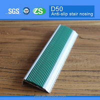 Aluminum stair edge nose trim with green pvc insert