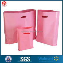 "9""*12"" eco-friendly pink die cut handle plastic retail shopping bag"