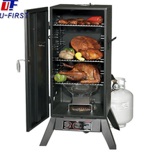 gas and charcoal type meat smoking machine