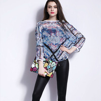Latest blouse design pictures,3/4 sleeve loose blouse for high quality