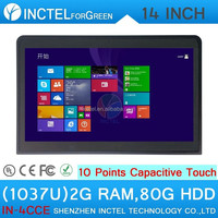 2015 touchscreen all in one desktop pc computer C1037u with 10 point touch capacitive touch with 2*RS232 2G RAM 80G HDD