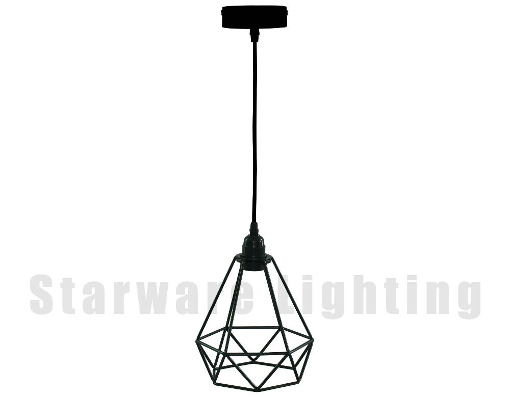 2016 new style loft vintage industrial pendant lamp diamond cage fabric black wire light