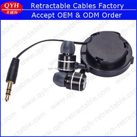 Beautiful high quality stereo headsets promotional earphone QYH retractable earbuds for mp3