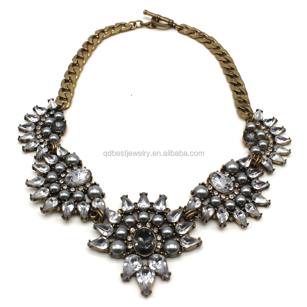 2015 top sell choker necklace grey pearl necklace buy