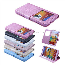 Window View Leather Magnetic Case Flip Cover Card Wallet Stand Case for SAMSUNG Galaxy Note 3