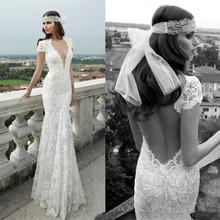 2015 Berta Sexy deep V-neck Floor length Bridal/Wedding Gown Backless Mermaid Lace Short Sleeve Wedding Dresses 2015
