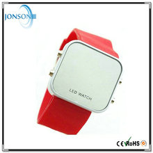 Multi-color Thin Simple Style led mirror touch screen silicone promotional digital watch
