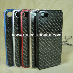 FL179 Knitting pattern Aluminum Carbon fiber combo frame case for iphone 5