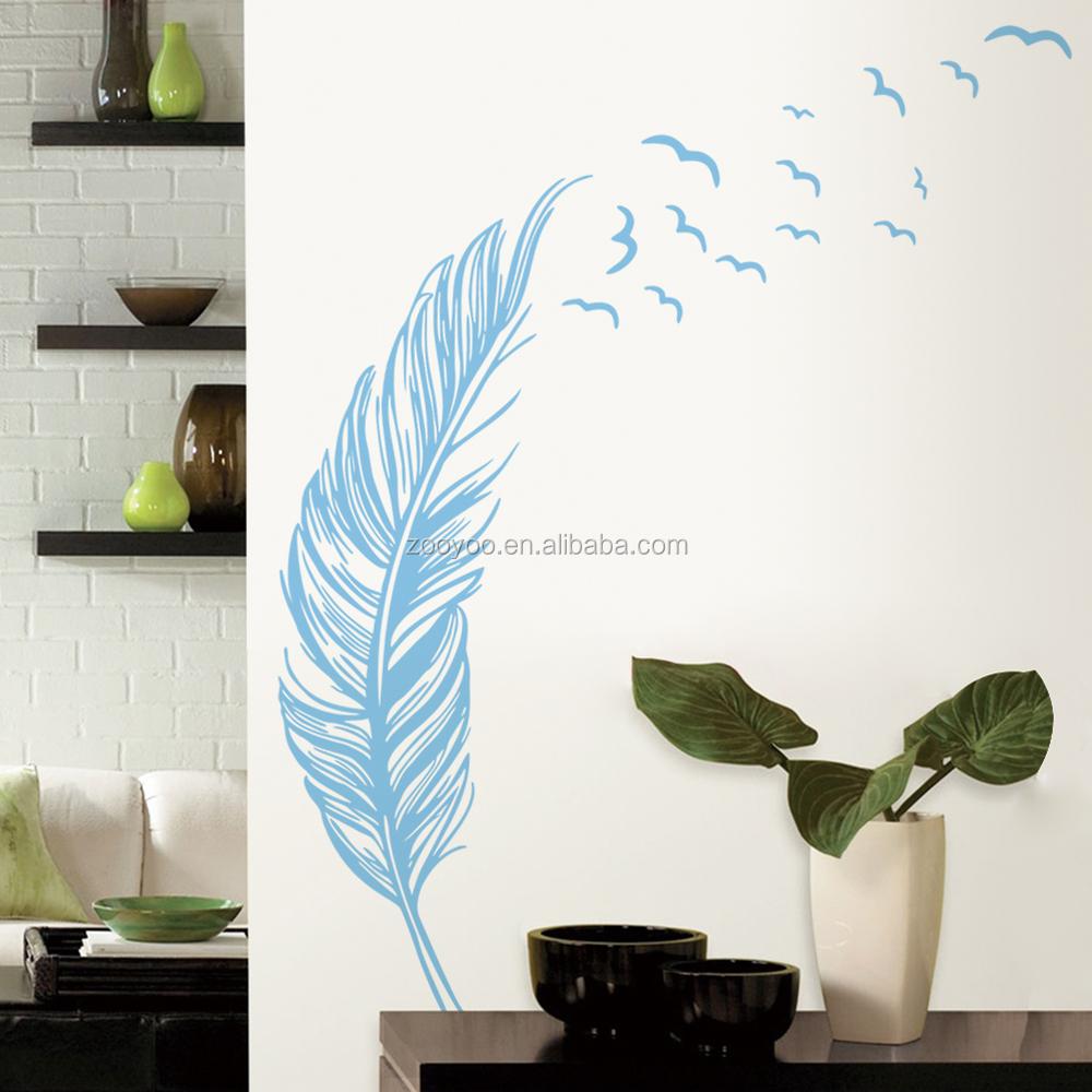 Kleurrijke veer zooyoo verwijderbare vinyl sticker huisdecoratie ...
