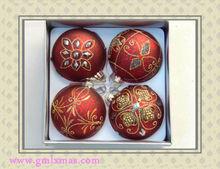 2015 best selling unique eco-friendly shatterproof PVC box pack family love vintage plain Christmas tree decoration glass ball