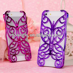 FL2171 2013 Guangzhou Luxury Chrome Hollow Pattern butterfly case for iphone 5 5G