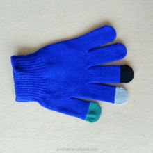 Factory direct white 100% acrylic blue color knit gloves