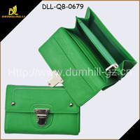 New Style PU Leather Green Women Purses in long size with metal lock