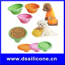portable silicone pet bowl can pad printing your own logo /collapsible silicone bowls/silicone rubber collapsible pet dog bowl